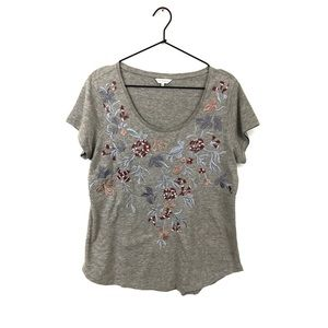 Lucky Brand Embroidered Floral T-Shirt